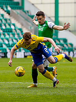 1st May 2021; Easter Road, Edinburgh, Scotland; Scottish Premiership Football, Hibernian versus St Johnstone;  Kyle Magennis of Hibernian grapples with James Brown of St Johnstone