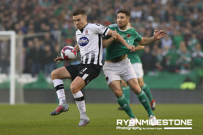 Patrick McEleney of Dundalk in action against Gearoid Morrissey of Cork City during the Irish Daily Mail FAI Cup Final between Dundalk and Cork City, on Sunday 4th November 2018, at the Aviva Stadium, Dublin. Mandatory Credit: Michael P Ryan.