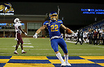 BROOKINGS, SD - MAY 2: Isaiah Davis #22 of the South Dakota State Jackrabbits celebrates his touchdown against the Southern Illinois Salukis at Dana J Dykhouse Stadium on May 2, 2021 in Brookings, South Dakota. (Photo by Dave Eggen/Inertia)