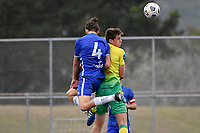 George Ott of Lower Hutt AFC competes for the ball with Oliver Whitehead of Petone FC during the Central League Football - Petone FC v Lower Hutt AFC at Petone Memorial Park, Lower Hutt, New Zealand on Friday 2 April 2021.<br /> Copyright photo: Masanori Udagawa /  www.photosport.nz