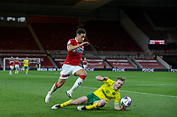 Middlesbrough's Marcus Tavernier goes past Norwich City's Oliver Skipp<br /> <br /> Photographer Alex Dodd/CameraSport<br /> <br /> The EFL Sky Bet Championship - Middlesbrough v Norwich City - Saturday 21st November 2020 - Riverside Stadium - Middlesbrough<br /> <br /> World Copyright © 2020 CameraSport. All rights reserved. 43 Linden Ave. Countesthorpe. Leicester. England. LE8 5PG - Tel: +44 (0) 116 277 4147 - admin@camerasport.com - www.camerasport.com