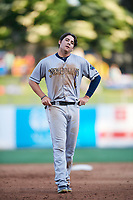 Austin Dean (7) of the New Orleans Baby Cakes during the game against the Salt Lake Bees at Smith's Ballpark on June 8, 2018 in Salt Lake City, Utah. Salt Lake defeated New Orleans 4-0.  (Stephen Smith/Four Seam Images)