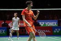 14th March 2020, Arena Birmingham, Birmingham, UK; Chinas Chen Yufei celebrates after winning the womens singles semifinal match between Chinas Chen Yufei and Japans Okuhara Nozomi at All England Badminton 2020 in Birmingham