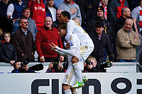 Sunday, 23 November 2012<br /> <br /> Pictured:Michu  Jonathan de Guzman of Swansea City celebrate after Michu's goal for Swansea in the first half <br /> <br /> Re: Barclays Premier League, Swansea City FC v Manchester United at the Liberty Stadium, south Wales.