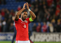 Ashley Williams of Wales thanks home supporters after the 2018 FIFA World Cup Qualifier between Wales and Serbia at the Cardiff City Stadium, Wales, UK. Saturday 12 November 2016