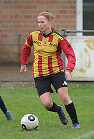 20160116 - ZULTE , BELGIUM : KV Mechelen's Kim Van Hoof   pictured during a soccer match between the women teams of Famkes Merkem B and Yellow-Red KV Mechelen  , during the matchday in the Tirth League - Derde Nationale season, Saturday 13 February 2016 . PHOTO DIRK VUYLSTEKE