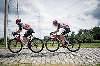 Jasper De Buyst (BEL/Lotto Soudal) & Tosh Van der Sande (BEL/Lotto Soudal) over the cobbles<br /> <br /> Belgian National Championships 2021 - Road Race<br /> <br /> One day race from Waregem to Waregem (221km)<br /> <br /> ©kramon