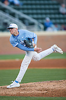 North Carolina Tar Heels relief pitcher Rodney Hutchison Jr. (48) follows through on his delivery against the Kentucky Wildcats at Boshmer Stadium on February 17, 2017 in Chapel Hill, North Carolina.  The Tar Heels defeated the Wildcats 3-1.  (Brian Westerholt/Four Seam Images)
