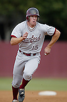 Donny Lucy of the Stanford Cardinal runs the bases during a 2002 season NCAA game against the Southern California Trojans at Dedeaux Field in Los Angeles, California. (Larry Goren/Four Seam Images)