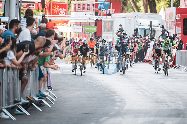Jasper Philipsen (BEL) Alpecin-Fenix wins Stage 5 of La Vuelta d'Espana 2021, running 184.4km from Tarancón to Albacete, Spain. 18th August 2021.    <br /> Picture: Charly Lopez/Unipublic | Cyclefile<br /> <br /> All photos usage must carry mandatory copyright credit (© Cyclefile | Unipublic/Charly Lopez)