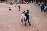 Bhaktapur, Nepal.  Nepalese Teenagers Dressed in Western-style Clothes, Durbar Square.