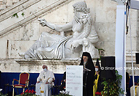 Pope Francis wearing a face mask attends a ceremony for peace with representatives from various religions in Campidoglio Square in Rome on October 20, 2020<br /> (Photo by Stefano Spaziani)
