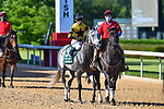 Winning Impression (9) with jockey Julien Leparoux aboard during the 1st division of the Arkansas Derby at Oaklawn Racing Casino Resort in Hot Springs, Arkansas on May 2, 2020. Ted McClenning/Eclipse Sportswire/CSM
