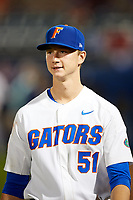 Florida Gators starting pitcher Brady Singer (51) walks to the clubhouse after a game against the Siena Saints on February 16, 2018 at Alfred A. McKethan Stadium in Gainesville, Florida.  Florida defeated Siena 7-1.  (Mike Janes/Four Seam Images)