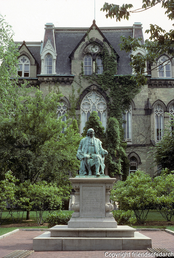 Philadelphia: College Hall, U. of Pennsylvania, 1871-72. First building on new campus. Walls of green stone. Seated figure of Franklin, 1899,donated by merchant Justus Strawbridge. Sculptor John J. Boyle. Photo '85.