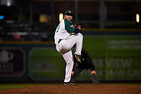 Fort Wayne TinCaps relief pitcher Dan Dallas (38) during a Midwest League game against the Quad Cities River Bandits at Parkview Field on May 3, 2019 in Fort Wayne, Indiana. Quad Cities defeated Fort Wayne 4-3. (Zachary Lucy/Four Seam Images)