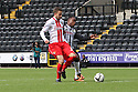 Robin Shroot of Stevenage races with Mustapha Dumbuya of Notts County<br />  - Notts County v Stevenage - Sky Bet League One - Meadow Lane, Nottingham - 24th August 2013<br /> © Kevin Coleman 2013