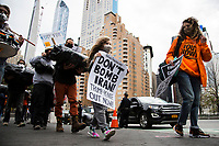 NEW YORK, UNITED STATES - NOVEMBER 21: Activists protest with black bags like corpses and walk from Columbus Circle to Trump International Hotel & Tower on November 21, 2020 in New York City. Some people gather in Columbus Circle to protest against the government of President Donald Trump, with a symbolic act where they use black bags as if they were corpses due to the thousands of deaths produced by Covid-19. Photo by Pablo Monsalve / VIEWpress via Getty Images)