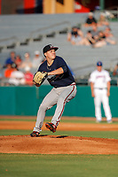 Mississippi Braves pitcher Victor Vodnik (49) delivers a pitch to the plate against the Tennessee Smokies at Smokies Stadium on July 15, 2021, in Kodak, Tennessee. (Danny Parker/Four Seam Images)
