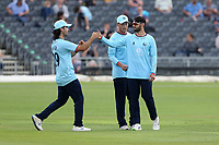 Aron Nijjar of Essex celebrates with his team mates after taking the wicket of Jack Taylor during Gloucestershire vs Essex Eagles, Royal London One-Day Cup Cricket at the Bristol County Ground on 3rd August 2021