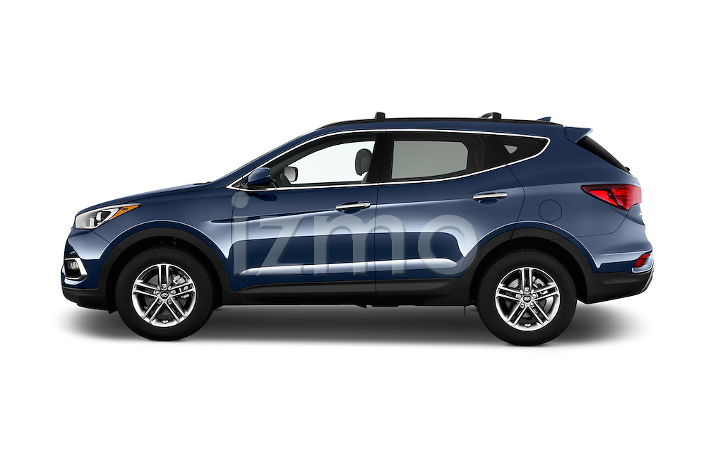 Car Driver side profile view of a 2017 Hyundai Santa-Fe Sport 5 Door SUV Side View