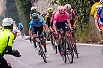 The final climb up to Basilica Superga with Michael Woods (CAN) EF Education First, Spanish Champion Alejandro Valverde (ESP) Movistar Team, Adam Yates (GBR) Mitchelton-Scott, Tiesj Benoot (BEL) Lotto-Soudal and Egan Bernal (COL) Team Ineos during the world's oldest classic the 100th edition of Milano-Torino running 179km from Magenta to the Basilica at Superga in Turin, Italy. 9th Octobre 2019. <br /> Picture: Marco Alpozzi/LaPresse | Cyclefile<br /> <br /> All photos usage must carry mandatory copyright credit (© Cyclefile | LaPresse/Marco Alpozzi)