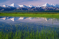 Tundra pond reflects Mount Brooks and Mount Mather<br />