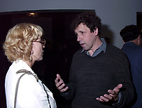 Montreal, 1999-08-29.Swedish actress and President of this year jury ; Bibi Andersson talking with Irish actor and Jury member, Stephen Rea at the party organised tonight (August 29) to celebrate Irish cinema presence at the World Film Festival. Irish cinema has the honor of beeing the subject of this year focus. More than 12  films from Ireland are presented.<br /> Photo : (c) Pierre Roussel, 1999<br /> KEYWORDS :  Bibi Andersson, Stephen Rea, Celebrities, World Film Festival, Montreal, Canada