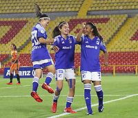 BOGOTÁ- COLOMBIA, 12-08-2021: Millonarios  y Llaneros en partido por la fecha 7 como parte de la Liga Femenina BetPlay DIMAYOR 2020 jugado en el estadio Nemesio Camacho El Campín de Bogotá./ Millonarios  and Llaneros in match for the date 7 as part of Women's BetPlay DIMAYOR 2021 League, played at Nemesio Camacho El Campin stadium of Bogotá City. Photo: VizzorImage / Felipe Caicedo / Staff
