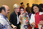 21 March 2016, Jakarta, Indonesia:  Australia's Foreign Minister Julie Bishop pose with guests following the official proceedings at the opening of the new Australian Embassy in Jakarta. The function included traditional welcomes, dancing and speeches from Australian and Indonesian guests. Picture by  Graham Crouch/DFAT