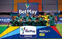 MEDELLÍN- COLOMBIA,  05-03-2021.Jugadores de La Equidad posan para una foto previo al partido por la fecha 11 entre  Deportivo Independiente Medellín y La Equidad como parte de la Liga BetPlay DIMAYOR 2021 jugado en el estadio Atanasio Girardot de la ciudad de Medellín. / Players of La Equidad pose to a photo prior Match for the date 11 between  Deportivo Independiente Medellin and La Equidad  as part of the BetPlay DIMAYOR League I 2021 played at Atanasio Girardot stadium in Medellin city.Photo: VizzorImage / Donaldo Zuluaga/ Contribuidor