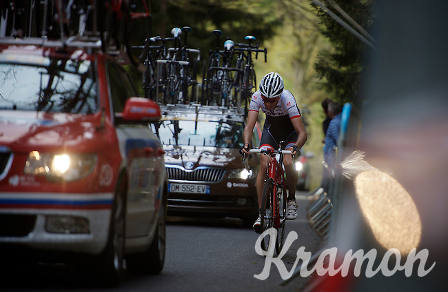 Laurent Didier (LUX/Trek Factory Racing) struggles himself up the Côte de Stockeu (2300m/9.9%)<br /> <br /> 101th Liège-Bastogne-Liège 2015