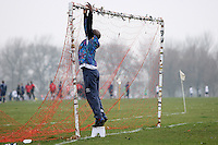 The Club 93 goalkeeper puts up the goal net prior to a Hackney & Leyton Sunday League match at Hackney Marshes - 01/03/09 - MANDATORY CREDIT: Gavin Ellis/TGSPHOTO - Self billing applies where appropriate - Tel: 0845 094 6026