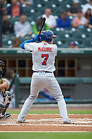 Reese McGuire (7) of the Buffalo Bisons at bat against the Caballeros de Charlotte at BB&T BallPark on July 23, 2019 in Charlotte, North Carolina. The Bisons defeated the Caballeros 8-1. (Brian Westerholt/Four Seam Images)