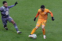 ST PAUL, MN - OCTOBER 18: Matias Vera #22 of Houston Dynamo controls the ball during a game between Houston Dynamo and Minnesota United FC at Allianz Field on October 18, 2020 in St Paul, Minnesota.