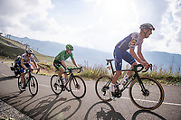 Green Jersey Sam Bennett (IRE/Deceuninck-Quick Step) escorted up the finish climb by Tim Declercq (BEL/Deceuninck-QuickStep) up the highest peak of the 2020 #TdF: the Col de la Loze (HC/2304m/21,5km @7,8%)<br /> <br /> Stage 17 from Grenoble to Méribel - Col de la Loze (170km)<br /> <br /> 107th Tour de France 2020 (2.UWT)<br /> (the 'postponed edition' held in september)<br /> <br /> ©kramon