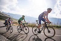 Green Jersey Sam Bennett (IRE/Deceuninck-Quick Step) escorted up the finish climb by Tim Declercq (BEL/Deceuninck-QuickStep) up the highest peak of the 2020 #TdF: the Col de la Loze (HC/2304m/21,5km @7,8%)<br /> <br /> Stage 17 from Grenoble to Méribel - Col de la Loze (170km)<br /> <br /> 107th Tour de France 2020 (2.UWT)<br /> (the 'postponed edition' held in september)<br /> <br /> ©kramon