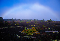 Rainbow over devastation trail, Hawaii Volcanoes National Park