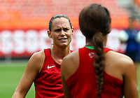 WASHINGTON D.C. - September 02, 2013:<br /> Christie Rampone talks to Sydney Leroux During a USA WNT open practice at RFK Stadium, in Washington D.C. the day before the USA v Mexico international friendly match.
