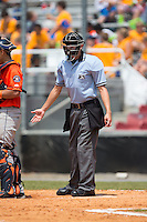Home plate umpire Sam Dodson during the Appalachian League game between the Greeneville Astros and the Kingsport Mets at Hunter Wright Stadium on July 7, 2015 in Kingsport, Tennessee.  The Mets defeated the Astros 6-4. (Brian Westerholt/Four Seam Images)
