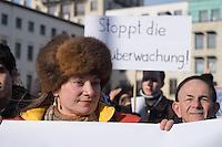 """Protest gegen Ueberwachung.<br />Anlaesslich des """"International Day of Privacy"""" #IDP14 protestierten Geheimdienstkritiker am Samstag den 2. Februar 2014 vor dem Brandenburger Tor gegen die Vorratsdatenspeicherung. Sie forderten u.a. Asyl fuer den Whistleblower Edward Snowden in Deutschland, den Schutz der Privatsphaere vor Ausspaehungen durch Geheimdienste und eine vollstaendige Aufklaerung der NSA-Abhoeraktionen.<br />Im Bild: Anke Domscheid-Berg, Mitglied der Piratenpartei.<br />1.2.2014, Berlin<br />Copyright: Christian-Ditsch.de<br />[Inhaltsveraendernde Manipulation des Fotos nur nach ausdruecklicher Genehmigung des Fotografen. Vereinbarungen ueber Abtretung von Persoenlichkeitsrechten/Model Release der abgebildeten Person/Personen liegen nicht vor. NO MODEL RELEASE! Don't publish without copyright Christian-Ditsch.de, Veroeffentlichung nur mit Fotografennennung, sowie gegen Honorar, MwSt. und Beleg. Konto:, I N G - D i B a, IBAN DE58500105175400192269, BIC INGDDEFFXXX, Kontakt: post@christian-ditsch.de<br />Urhebervermerk wird gemaess Paragraph 13 UHG verlangt.]"""