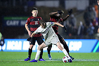 CARY, NC - DECEMBER 13: Sean O'Hearn #4 of Georgetown University is challenged by Ousseni Bouda #11 of Stanford University during a game between Stanford and Georgetown at Sahlen's Stadium at WakeMed Soccer Park on December 13, 2019 in Cary, North Carolina.
