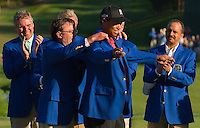 Tiger Woods is given a Blue Jacket after winning the 2007 Wachovia Championships at Quail Hollow Country Club in Charlotte, NC.