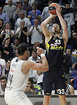 Real Madrid's Gustavo Ayon (l) and Fenerbahce Istambul's   Nikola Kalinic during Euroleague Quarter-Finals 3rd match. April 19,2016. (ALTERPHOTOS/Acero)