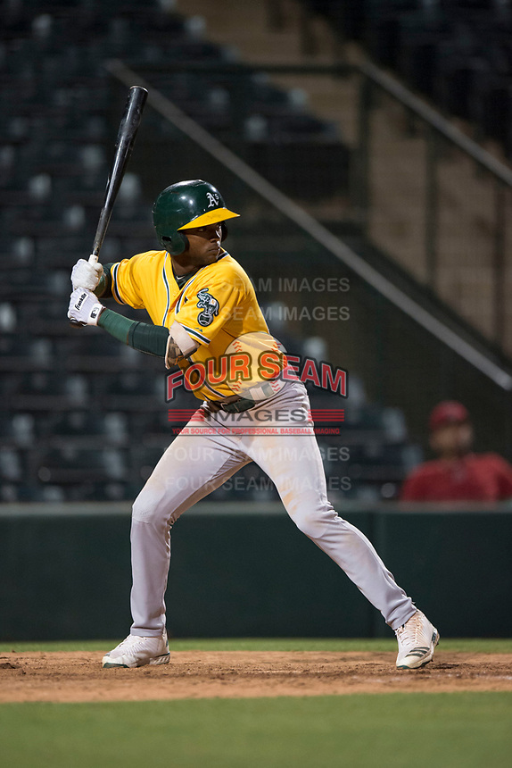 AZL Athletics designated hitter Danny Bautista (20) at bat during an Arizona League game against the AZL Angels at Tempe Diablo Stadium on June 26, 2018 in Tempe, Arizona. The AZL Athletics defeated the AZL Angels 7-1. (Zachary Lucy/Four Seam Images)