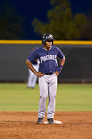 AZL Padres 2 second baseman Eguy Rosario (1) stands on second base during a game against the AZL Rangers on August 2, 2017 at the Texas Rangers Spring Training Complex in Surprise, Arizona. Padres 2 defeated the Rangers 6-3. (Zachary Lucy/Four Seam Images)