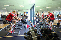 Pictured: David Cornell on the static bike. Wednesday 02 July 2014<br /> Re: Pre-season testing during the first day of training for Swansea City FC players at the Landore training ground.