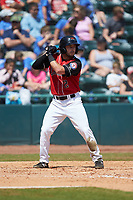 Tyler Depreta-Johnson (2) of the Hickory Crawdads at bat against the Charleston RiverDogs at L.P. Frans Stadium on May 13, 2019 in Hickory, North Carolina. The Crawdads defeated the RiverDogs 7-5. (Brian Westerholt/Four Seam Images)