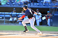 Greenville Drive Tyler Esplin (25) swings at a pitch during a game against the Asheville Tourists on July 16, 2021 at McCormick Field in Asheville, NC. (Tony Farlow/Four Seam Images)