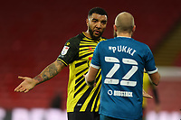 26th December 2020; Vicarage Road, Watford, Hertfordshire, England; English Football League Championship Football, Watford versus Norwich City; Troy Deeney of Watford has words with Teemu Pukki of Norwich City